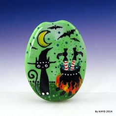 """""""TRUE WITCHES BREW"""" byKAYO a Handmade WICKED CAT Lampwork Glass Focal Bead SRA #Lampwork"""