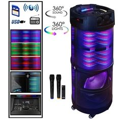 Enjoy endless music via Bluetooth, FM Radio, USB Flash Drive and AUX-In Port while the 360 Degree LED lights and light strip dace the night away. Take the fun with you, as the speaker is easily portable