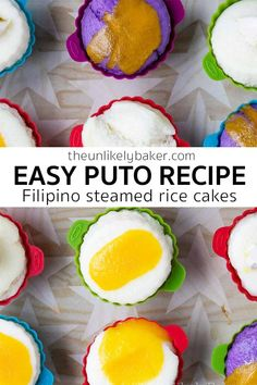 This puto recipe is so easy to make and very customizable you can use the same recipe to make a wide variety of puto flavours. From the traditional putong puti to puto cheese, from putong ube to puto with salted eggs. The possibilities are endless. Filipino Puto Recipe, Filipino Recipes, Filipino Food, Steamed Rice Cake, Rice Cakes, Gluten Free Cupcakes, Gluten Free Desserts, Delicious Cake Recipes, Dessert Recipes