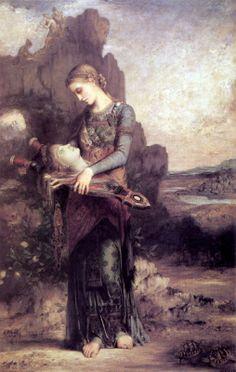 Gustave Moreau - Tracianische woman with the head of Orpheus and his lyre - Fille de Thrace portant la tête d'Orphée sur sa lyre