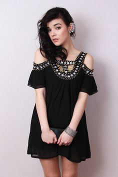 Mina Grecian Style Dress. Better without so much bling in the center. Only at off shoulders area.