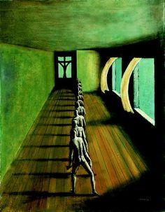 Edgar Ende (German surrealist painter, 1901–1965) Das Fensterkreuz, 1953. Oil on Canvas, 91 x 70 cm.