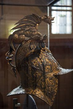 Parade helm, 16th century. Currently on display at the Hotel des Invalides, Paris, France.