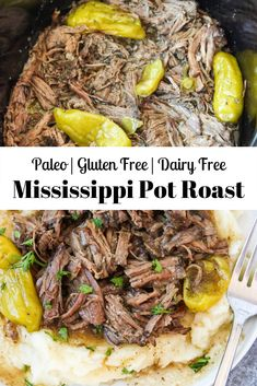 This Paleo Mississippi Pot Roast is a healthier version of the classic easy slow cooker beef traditionally made with butter, pepperoncinis, an au jus packet, and a ranch seasoning packet! It melts in Beef Recipes, Real Food Recipes, Healthy Recipes, Paleo Meals, Slow Cooker Recipes Paleo, Cooking Recipes, Paleo Whole 30, Whole 30 Recipes, Whole 30 Crockpot Recipes