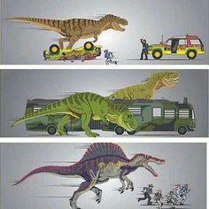 The Jurassic Park's (not including Jurassic World) T Rex Jurassic Park, Jurassic Park Poster, Jurassic Park Trilogy, Jurassic World Dinosaurs, Jurassic Park World, Jurassic Movies, Jurrassic Park, Park Art, Tyrannosaurus