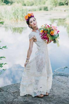 Upcycled Frida Kahlo inspired wedding dress by Crystena Hemingway of Rekindled Garments (Chico, California)