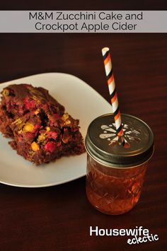 Housewife Eclectic: M&M's Zucchini Cake and Hot Apple Cider in the Crock Pot