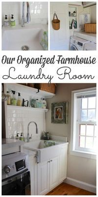 Our Farmhouse Laundry Room - Tiling & Organzing - Lehman Lane Laundry Room Tile, Farmhouse Laundry Room, Room Tiles, Farmhouse Decor, Farmhouse Ideas, Farmhouse Style, Easy Crafts To Make, Pine Floors, Laundry Room Organization