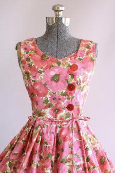 Vintage 1950s Dress / 50s Cotton Dress / Sir Rob Pink Floral Dress w/ Original Waist Tie S/M