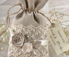 beautiful favors vintage style burlap sack lace