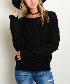 Look at this #zulilyfind! Black Ribbed Scoop Neck Sweater #zulilyfinds