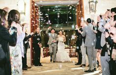 bubble exit   Early March Wedding   Lady Bird Johnson Wildflower Center   Pearl Events Austin   Andrew Chan Photography