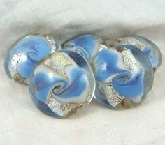 Lampwork Beads  Clear with Blue and Silver Design by DaisyJenRose