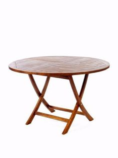 Teak Round Folding Table by Outdoor Patio. $555.90. 48w x 48d x 29h. FREE SHIPPING!. Folds away for easy Storage. 1-7/8 inch Umbrella Hole Includes Brass Grommet and Cap. Solid Teak. Our Tables constructed of solid Teak using mortise and tennon joinery. The table is offered in a 48 inch round or octagon shape and has 1-7/8 inch umbrella hole with lower pole Stabilizer Bar. Brass pole grommet and cap included.