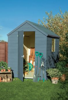 Somerset Green colour paint ideal for Garden Sheds, Planters, Garden Furniture and Bird Boxes Blue Garden, Colorful Garden, Shade Garden, Painted Garden Sheds, Painted Shed, Painted Garden Furniture, Shed Design, Garden Design, Allotment Shed