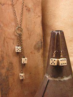 Upcycled Jewelry  Antique Bone Dice Necklace  Lariat by thekeyofa, $75.00