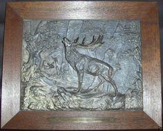 Herrliches Jagd Relief 1914 Hirsch Rehe Bronze Jagdbild Skulptur Bild Jäger