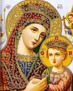 Madonna and Child Orthodox icon. Divine Mother, Blessed Mother Mary, Blessed Virgin Mary, Religious Pictures, Religious Icons, Religious Art, Byzantine Icons, Byzantine Art, Queen Of Heaven