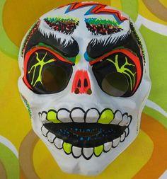 VTG 1960s Retro Ben Cooper Groovy Plastic Halloween Mask Skull Skeleton Zombie