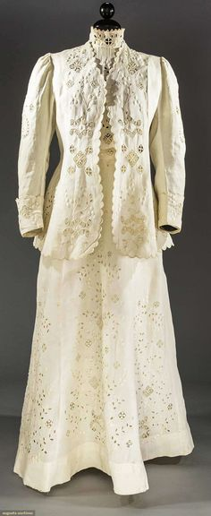 CUT-WORK & EMBROIDERED LINEN DRESS, c. 1905 Lot: 2182 May 11, 2016 - Sturbridge, MA  White 4-piece, needle lace insertions, blouse, skirt, jacket & belt, some stains, dirty, vg