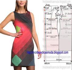 PASSO A PASSO MOLDE DE VESTIDO Este modelo foi desenhado sobre um molde base semi-largo, pode ser desenhado também numa base normal. Desenhe o molde base,