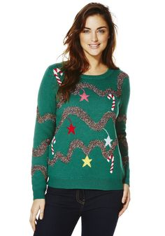 Clothing at Tesco | F&F Christmas Tree Flashing Lights Christmas Jumper > knitwear > Women's novelty > Christmas