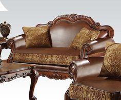 Opulent wood love seat