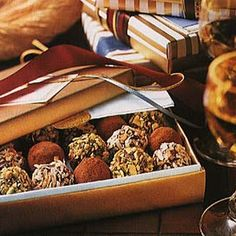 Trio of Chocolate Truffles Recipe Desserts with whipping cream, semi-sweet chocolate morsels, vanilla extract, unsweetened cocoa powder, sweetened coconut flakes, unsalted pistachios