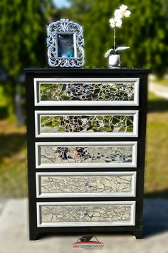 This item is SOLD. Please do NOT purchase it. Contact us for custom order. This style can be done in any sized and colors. ------------------------------------------------- Mirror mosaic 5 drawer dresser with crystal diamonds knobs. We can recreate this design with any other dressers. Shipping is NOT included in this listing Contact us with your address to get shipping quote Local delivery and pick up are available.