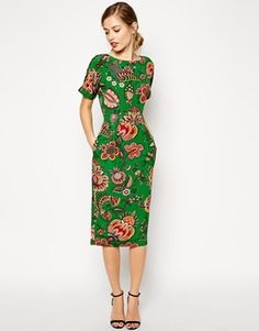 Hot Asos Midi Wiggle Dresses In Paisley Print OnlineOutlet