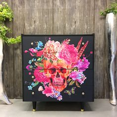 Vintage chest of drawers Skulls decoupage | upcycled furniture | colour drawers | quirky chester of drawers | interior style | home style | interior ideas | furniture ideas and inspiration