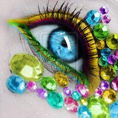 Rhinestone Makeup!! Use Mark Richards individual stones or Clusters to get this look!! #makeup #rhinestones