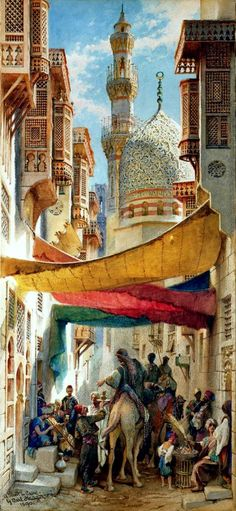 This picture describes Orientalism. Orientalism is a term that is used by art historians, literary and cultural studies scholars for the imitation or depiction of aspects in Middle Eastern, South Asian, and East Asian cultures. This is how I picture a orientalist painting, these paintings are normally done by designers from the west.