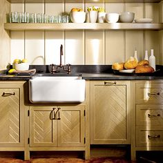Love the chevron pattern on the wet bar cabinets