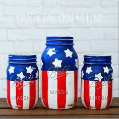 American Flag Mason Jars - Red White Blue Mason Jars - 4th of July Mason Jars - Memorial Day Mason Jars - Patriotic Mason Jars