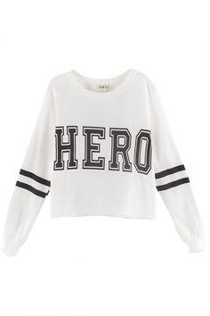 HERO&Stripe Print Crop Sweatshirt - Beautifulhalo.com