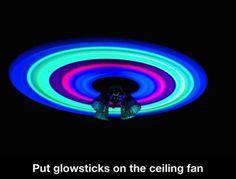 a glow sticks on the ceiling fan