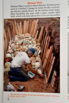 M.Wein setting pit with salt and copper carb in DAWN WHITRHAND pit firing book