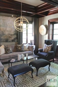 Benjamin Moore's Briarwood creates a beautiful backdrop for a palette of soft green and gray.