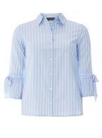 Womens Blue and White Stripe Tie Flute Sleeve Shirt- Blue
