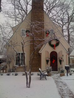 Christmas in Chicago,  English cottage decorated for the holidays.