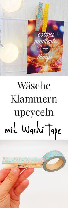 Upcycling Ideen für Wäscheklammern. Schöne Deko Ideen mit Washi Tape ganz einfach selber basteln. So könnt Ihr Eurem Schreibtisch ein Makeover verpassen. DIY Ideen zum Selbermachen.
