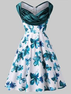 Handpainted Floral Print Sleeveless Flare Dress 2ba7f679a1