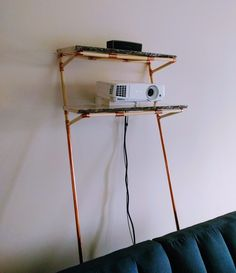 Copper and pine projector shelf