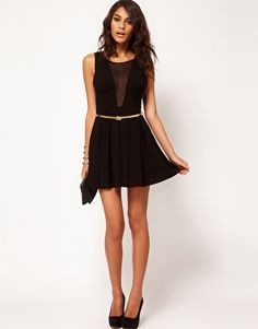 Image 4 of ASOS PETITE Exclusive Skater Dress With Chiffon Insert