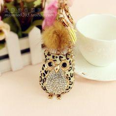 Fashion owl horsehair leopard print rhinestone car pendant keychain package linked to birthday gift