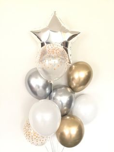 Twinkle Little Star Balloons Silver and Gold Balloons Happy Birthday Video, Girl First Birthday, Baby Birthday, Birthday Balloon Decorations, Birthday Balloons, Baby Shower Decorations, Star Baby Showers, Gold Baby Showers, Gold Balloons