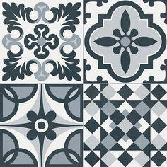 Black And White Ceramic Bathroom Floor Tiles Ceramic Tile Floor Bathroom, Ceramic Mosaic Tile, Bathroom Flooring, Bathroom Fixtures, Porcelain Tile, Paper Roll Holders, Toilet Paper Roll Holder, Style Ancien, Dark Blue Bathrooms