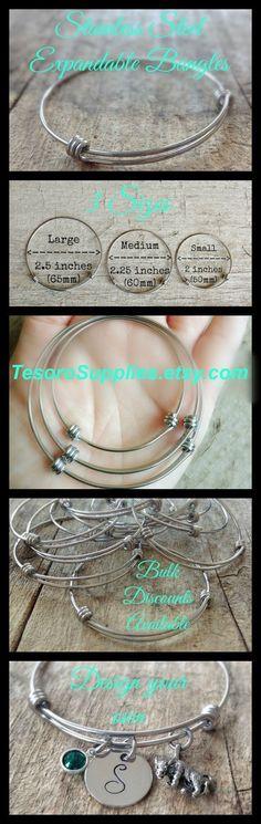 Stainless Steel Expandable Bangles - Bangle DIY - DIY Bracelets - Jewelry Making - Jewelry Supplies - TesoroSupplies.etsy.com