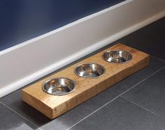 Rustic Wood Pet Feeder   Wooden Cat or Small Dog Bowl Holder   Cat or Dog Food…